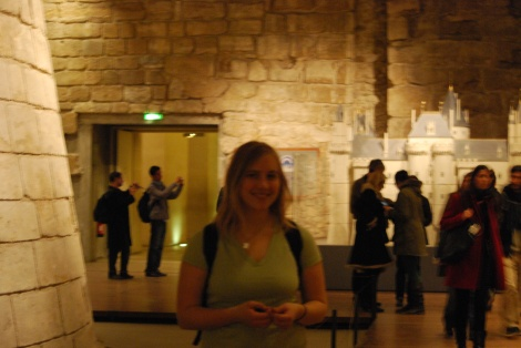 My glamorous self in the medieval section of the Louvre.