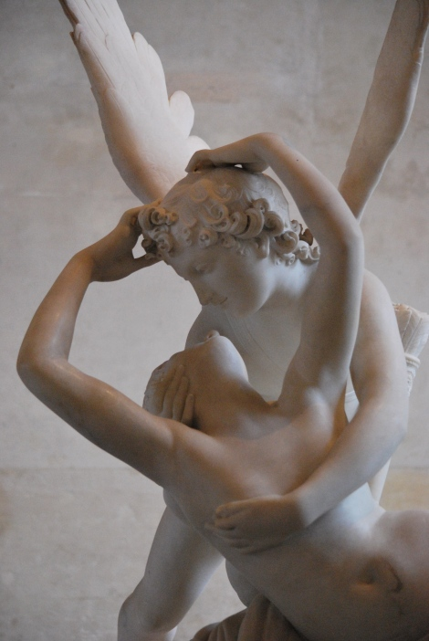 This is my favorite sculpture in the whole Louvre: Psyche revived by Cupid's Kiss. Silly girl opened a flask of deadly fumes and is knocked comatose: Cupid (or his much manlier-but-no-less suggestive Greek name, Eros) sees his beloved and rushes to her side- she's not dead. They embrace. Swoon.