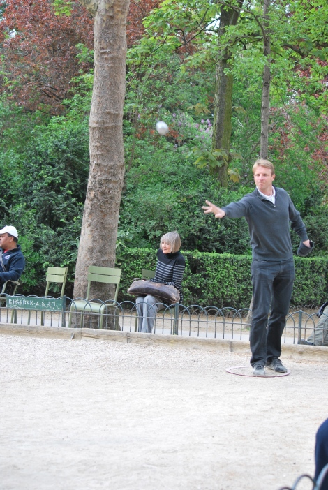 ...And there's even a park for old kids. This guy is playing France's favorite outdoor game, pétanque.