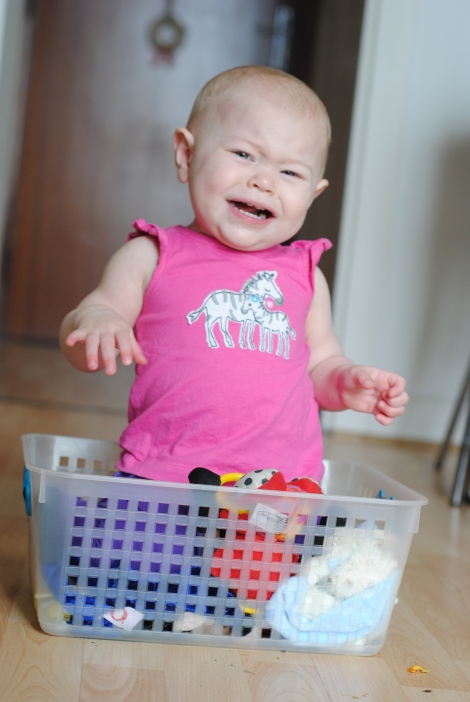 Baby in toy basket